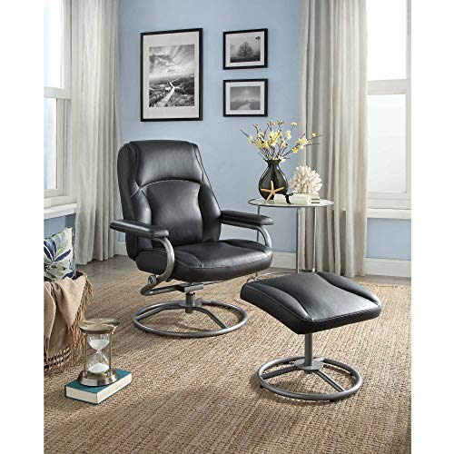 (Recliner Swivel Chair and Ottoman Set, Plush Pillowed Layers for Comfort, Sturdy Metal Tube Frame, Tension Adjust Knob, Matching Vinyl on Back and Sides, Multiple Colors + Expert Guide)