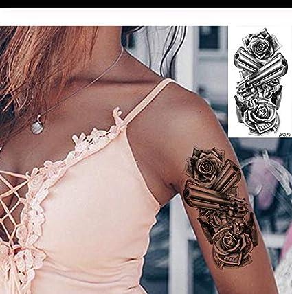LFVGUIOP 3D Pistola de Flores Tatuajes Temporales Mujeres Etiqueta ...