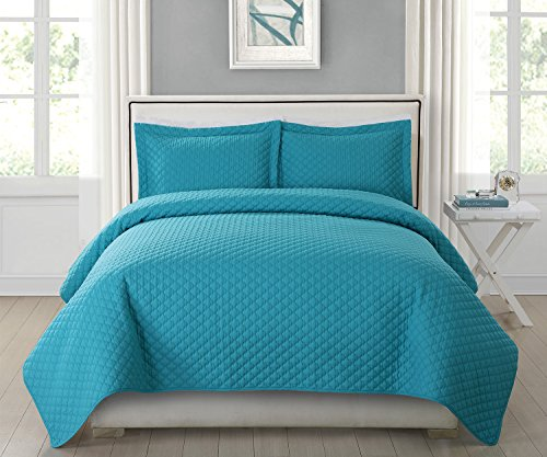 HollyHOME Collection 3 Pieces Luxury Super Soft Solid Pattern Embossed Bedding Quilt Set with 2 Pillowcases, Turquoise, King (Turquoise King Quilt compare prices)