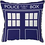 "Doctor Who TARDIS Throw Pillow - Square Cushion - 16"" x 16"""