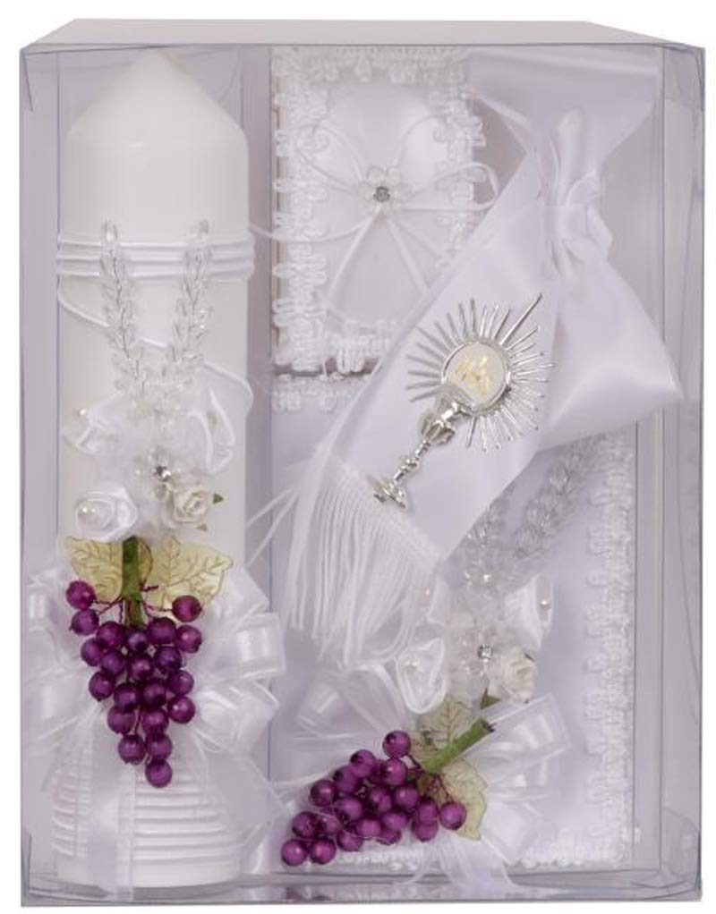 Gigi's Classy Kids First Communion White Candle with Grapes Box Gift 5 Pc Set for Boys Missal Spanish Juego de Vela Niño Español