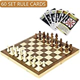 """iBaseToy Folding Wooden Chess Set with 60 Game Rules Cards for Adults Kids Beginners Large Chess Board - 15"""" x 15"""" x 1"""""""