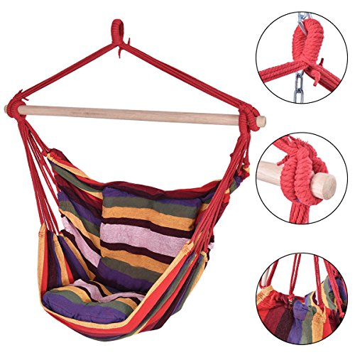 PROSPERLY U.S. Product Red Deluxe Hammock Rope Chair Patio Porch Yard Tree Hanging Air Swing - Giant Code Vintage Coupon