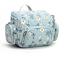Blue Floral Camera Bag for women,DSLR Camera case Purse for Canon Rebel EOS t5/sx530/SL1(100D)/450D/600D ,Sony a6000/a5000 ,Nikon D3100 d3200, Small Size