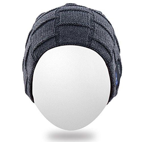 de gorrita auricular Gorro tejida Bluetooth Bluetooth adulta sombrero caliente del auricular Mydeal Sombrero con Gorra del cubiertas del del Mic del Gorrita oído la del unisex suave moda de Gris BB029 alta hilos PwrqwSOdx