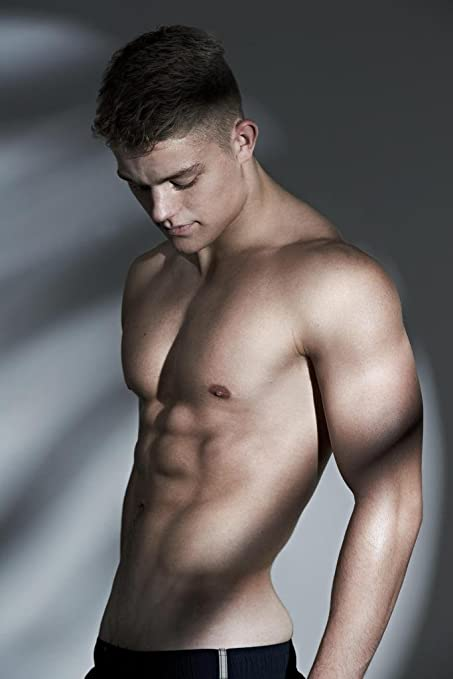 Handsome And Hunky Hot Guy Shirtless Photo Art Print Poster 24x36 Inch