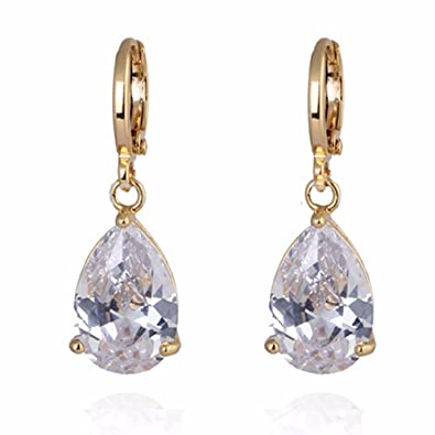GULICX Party Jewellery Gold Plated Teardrop Crystal Clear Cubic Zirconia Leverback Dangle Earrings E9wWjhd