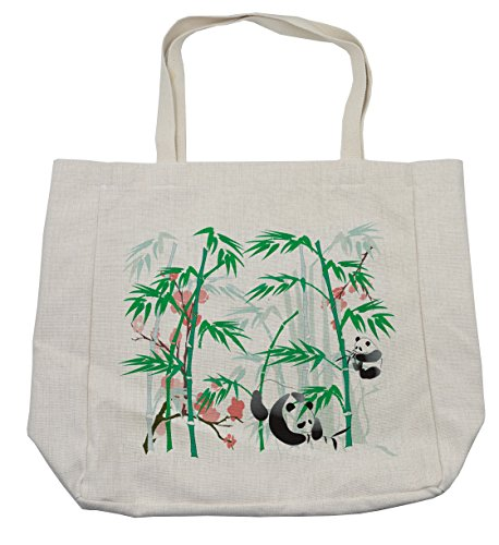 Lunarable Bamboo Shopping Bag, Giant Woody Grass Bamboos and Panda Bear in Chinese Tropics Artsy Print, Eco-Friendly Reusable Bag for Groceries Beach Travel School & More, Cream