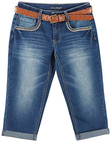 Vanilla Star Big Girls Embroidered Belted Crop Jeans 14 Marilyn Blue by Vanilla Star (Image #2)