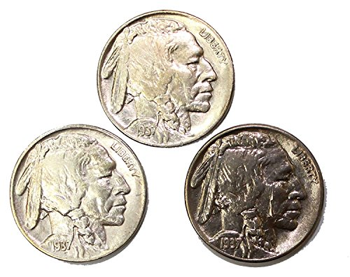 1937 P, S & D Buffalo Nickel Set About Uncirculated