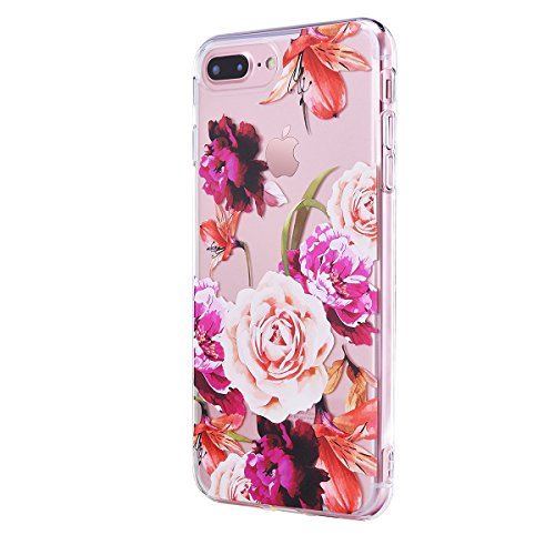 Iphone 8 Plus Case  Manleno Iphone 7 Plus Case Clear With Design Soft Flexible Floral Pattern Tpu Case Back Cover  5 5 Inch   Vetro Flowers A
