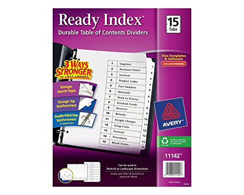 Cheap Avery Ready Index Table of Contents Dividers, 15-Tabs, 1 Set (11142) hot sale