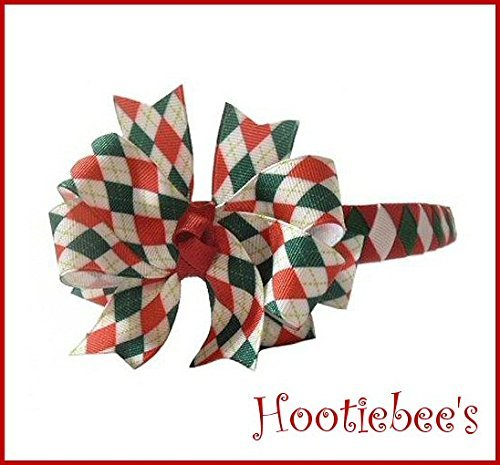 Red and Green Argyle Boutique Bow on Woven Headband (Ribbon Argyle Grosgrain)