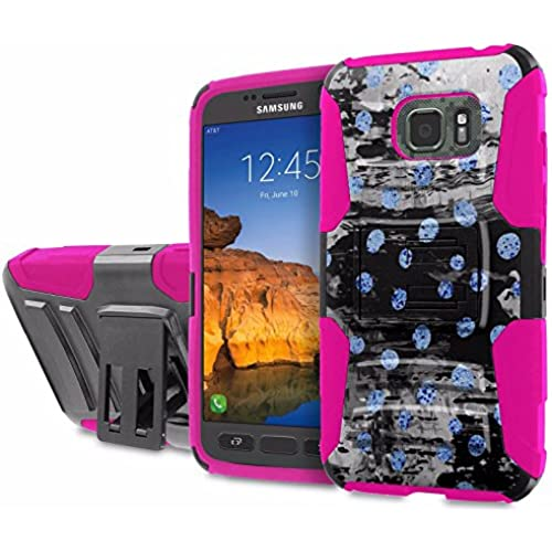 AT&T [Galaxy S7 Active] [5.2 Screen] Armor Case [SlickCandy] [Black/ Hot Pink] Heavy Duty Defender [Holster] [Kick Stand] Phone Case - [Blue Moon Polka] Sales