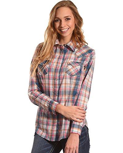 Wrangler Women's Multi Plaid Long Sleeve Western Snap Shirt Multi (Ladies Long Sleeve Western Shirt)