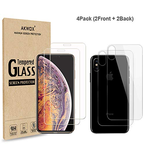 ((4-Pack) Compatible with iPhone Xs Max Screen Protector with Back Covers, Akwox 9H Tempered Glass Front Screen Protector and Back Screen Protector for iPhone Xs Max)