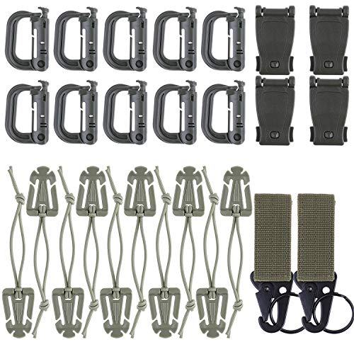 LOCOLO Kit of 26Pcs Tactical Molle Attachments Fits Molle Backpack Webbing - 10 Tactical Gear Clip, 10 D-Ring Grimloc Locking, 4 Molle Clip, 2 Molle Webbing Key Ring ()