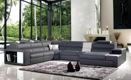 Model: Polaris (5022) – Grey Contemporary Leather Sectional Sofa