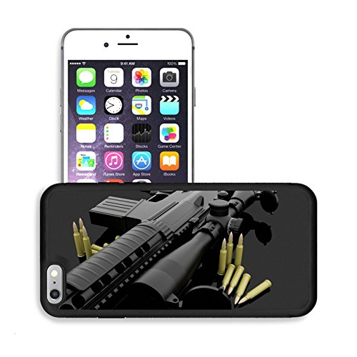 Luxlady Premium Apple iPhone 6 Plus iPhone 6S Plus Aluminum Backplate Bumper Snap Case IMAGE ID: 20454432 Gun and ammo on a dark background