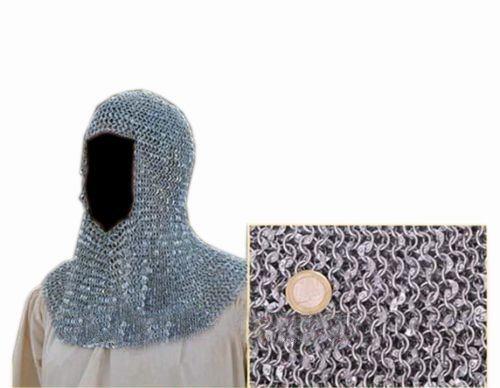 Queen Brass Great Riveted Aluminium Chain Mail Coif Medieval Armor Chainmail Hood Aluminum Standard Silver