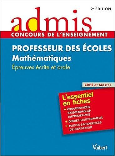 Livre gratuits en ligne Concours professeurs des écoles mathématiques épreuves écrites pdf ebook