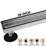 28-Inch Linear Shower Drain with Tile Insert Grate, Brushed 304 Stainless Steel Long Shower Floor Drain for Bathroom, Rectangle Floor Shower Drain with Adjustable Leveling Feet and Hair Strainer