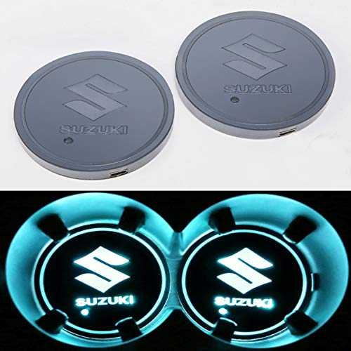monochef Auto sport 2PCS LED Cup Holder Mat Pad Coaster with USB Rechargeable Interior Decoration Light ()
