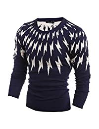 Huafeiwude Mens Knitted Slim Fit Crew-Neck Sweater Casual Pullover Sweaters