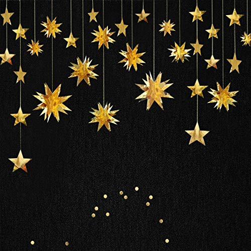 Gold Decorations Kit,Star Paper Garland,3D Stars Party Decor,Metallic Bunting Banner-Holiday Supplies,Birthday,Wedding,Baby Shower,Hanging Decorations for Nursery,Kids,Girls Room by PinkBlume(4 - Paper Mache Gold