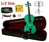 Merano 1/2 Size Green Violin with Case and Bow+Extra Set of Strings, Extra Bridge, Shoulder Rest, Rosin, Metro Tuner, Black Music Stand, Mute