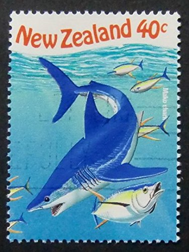 Mako Shark New Zealand -Handmade Framed Postage Stamp Art 6662 (Shark New Zealand)