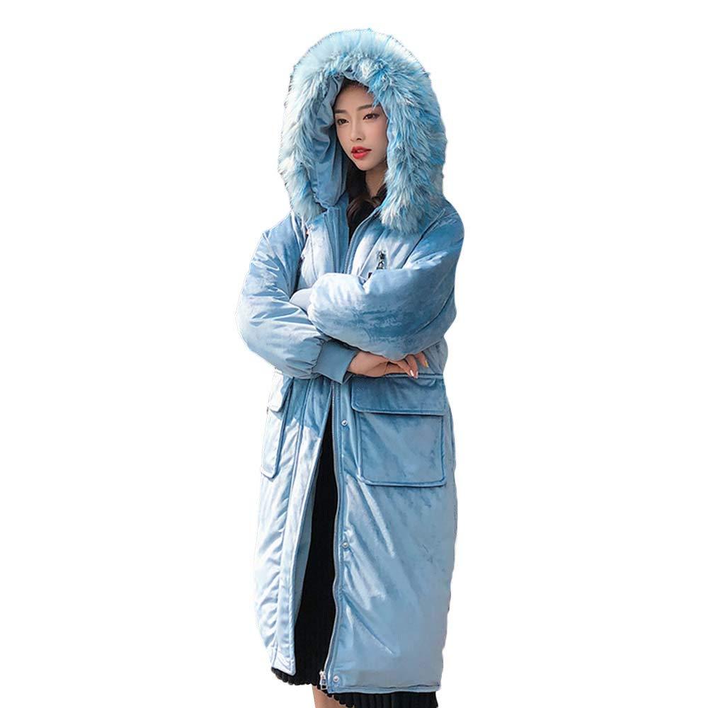 Bleu EU-40(CN-XL) Femme Manteau Boutonné à Capuche Vestes Longues et Solides Manteaux de Poche
