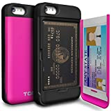 iPhone SE Case, TORU [CX PRO] iPhone SE Wallet Case - [CARD SLOT][ID HOLDER][KICKSTAND] Protective Hidden Wallet Case with Mirror for iPhone 5/5S/SE - Hot Pink