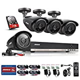 ANNKE 8-Channel 1080N Video DVR with 1TB Surveillance Hard Disk Drive Pre-installed and (4) 1.3MP 960p Weatherproof Cameras with Metal Housing and IR Night Vision