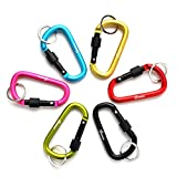 AGPTEK D-shape Aluminum Screw Carabiner Fishing, Hiking, Traveling Key Ring Locking Clip Spring Snap Hook Keychain Outdoor Buckle - Assorted Colors (Set of 24)