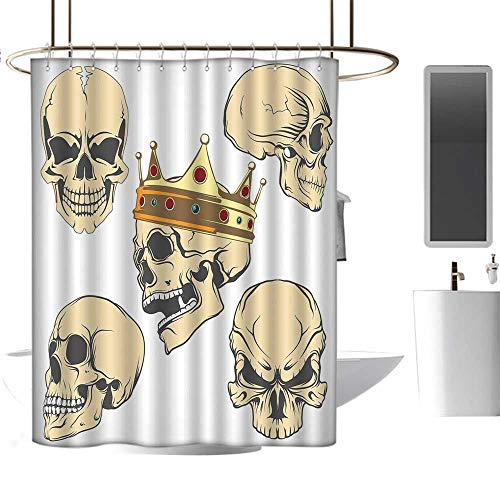 MKOK Waterproof Polyester Shower curtain54 x78 Skull,Skulls Different Expressions Evil Face Crowned Death Monster Halloween Print,Sand Brown Yellow,Metal Rust Proof Grommets Bathroom Decoration ()