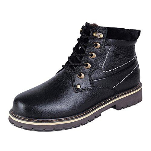 Mens Chaud ailishabroy À Chaussures Bottines Hiver Lacets Randonnée Haut Haut Noir Combat Imperméable fqxTEFx