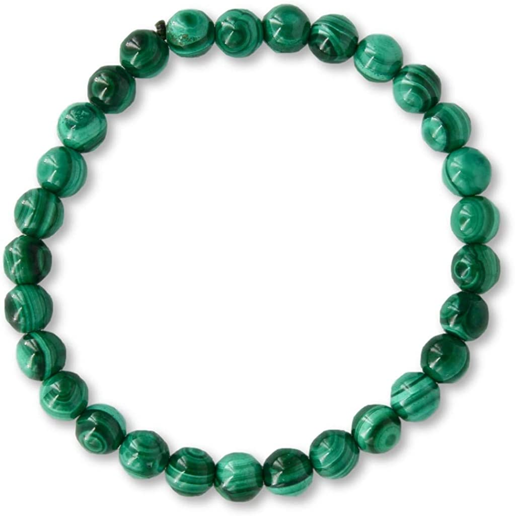 Taddart Minerals – Pulsera verde de piedra preciosa natural malaquita con bolas de 6 mm en hilo de nailon elástico – hecha a mano