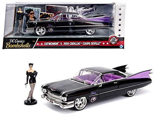 DIECAST 1:24 W/B - DC Comics Bombshells - Catwoman & 1959 Cadillac Coupe DEVILLE (Black) 30458 by - Black Cadillac Model