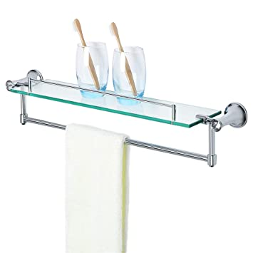 Amazoncom Alise Gy8000 Glass Shelf Bathroom Shelves With Towel Bar