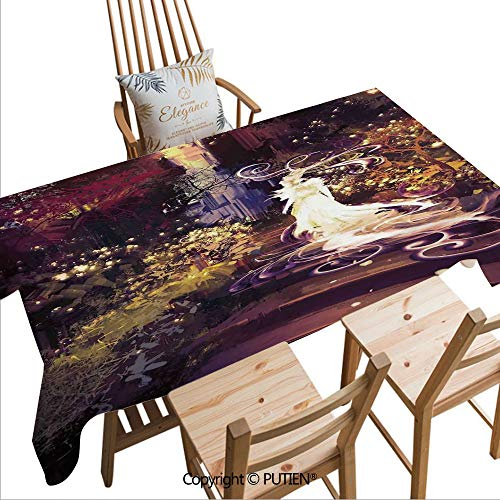 SCOCICI Fashion Rectangular Tablecloth Surreal Silhouette of Elf Lady Figure on Stair in Garden Expressionist Artwork Decorative for Dinner Kitchen Home Decor,W104xL60(inch)]()