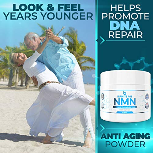 51KgOm430aL - NMN Supplements, NMN Nicotinamide Mononucleotide, Nad Booster By Infinite Age  NMN Powder 15 GRAMS (Per Jar) For Anti Aging, Brain Function, Stress, Health, Energy. NMN Molecule Supplement