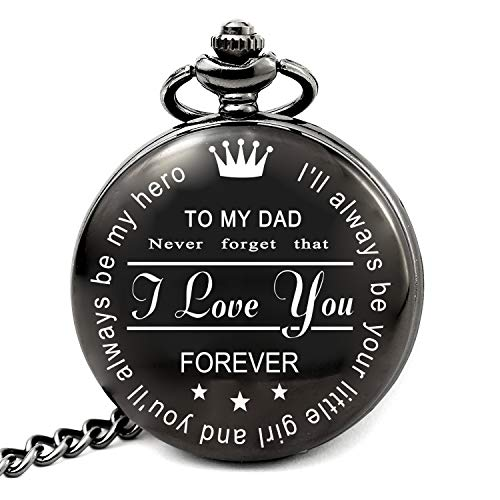 LEVONTA Dad Gifts for Birthday Christmas Fathers Day, Best Daddy Wedding Gift Ideas, to My dad Pocket Watch (PW-Hero-DAD-Roman)