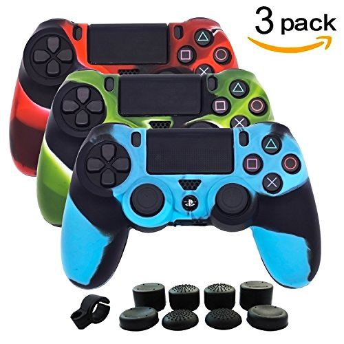 Price comparison product image BRH 3 Package Silicone Gel PS4 Controller Cover Skins, Anti-slip Camouflage Protector Skin Kits for Sony Dualshock 4/Slim/Pro Wireless/Wired Gamepad with 8 x Pro Thumb Grip Caps