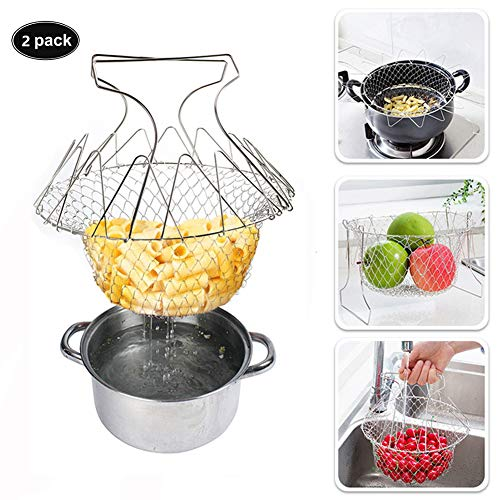 Stainless Steel Multifunction Folding Basket Chef Telescopic Basket Fried Filter Drainage Rack Kitchen Fruit Basket Tools