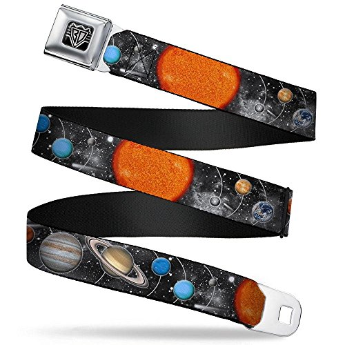 Buckle-Down Unisex-Adult's Seatbelt Belt Space Regular, Solar System Sun/Planets/Stars, 1.5