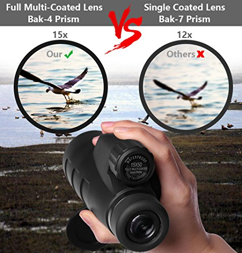 High Power Monocular Telescope 15X50 Monocular Scope with Tripod Smartphone Holder, HD Low Light Night Vision Scope, Waterproof Super Bright and Clear for Adults Bird Watching Wildlife MB15-1 by ANATA (Image #4)