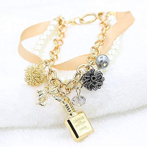 Bottle Elegant Perfume (Mindy Elegant Perfume Bottle String Pearl Bow Multilayer Bracelet)