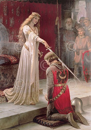 The Accolade Edmund Leighton Medieval Knight Princess Queen Romantic Poster (Choose Size of Print) (Print Accolade Poster)