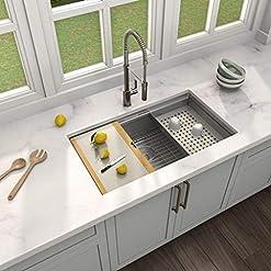 Kitchen MENSARJOR 32″ x 19″ Workstation Ledge Handmade Undermount Kitchen Sink SUS304 Stainless Steel 16 Gauge Big Single Bowl Bar or Outdoor modern kitchen sinks